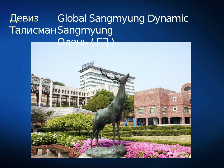 Девиз Талисман Global Sangmyung Dynamic Sangmyung Олень ( 상상 )