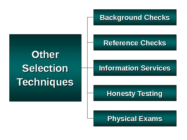 Other Selection Techniques Background Checks Physical Exams. Reference Checks Honesty Testing. Information Services