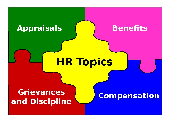 HR Topics. Appraisals Benefits Compensation. Grievances and Discipline