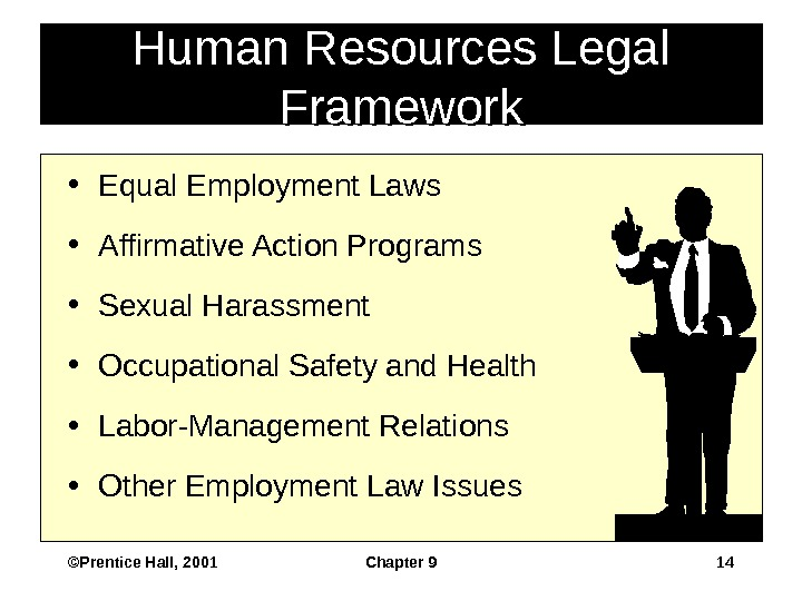 ©Prentice Hall, 2001 Chapter 9 14 • Equal Employment Laws • Affirmative Action Programs • Sexual