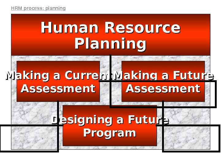 Human Resource. Human Resource Planning Making a Future Assessment. Making a Current Assessment Designing a Future