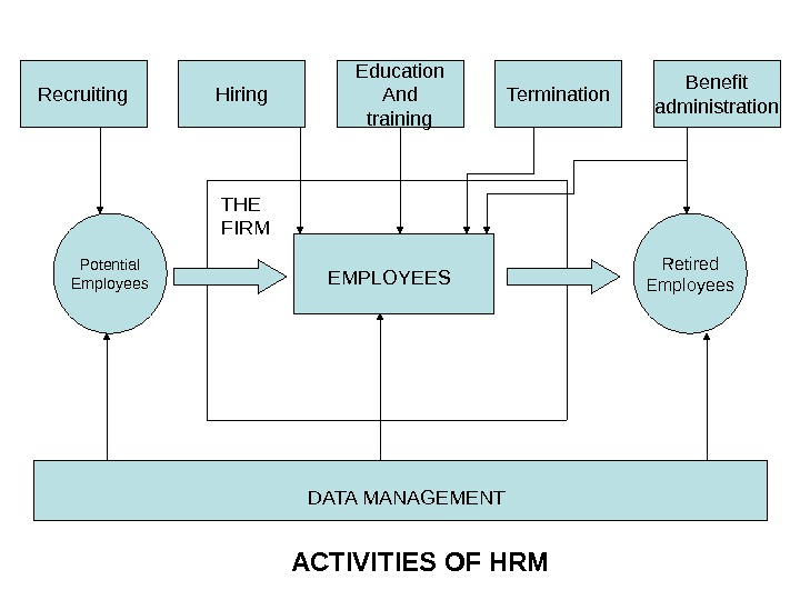 Potential Employees Retired Employees. Recruiting Hiring Education And training Termination Benefit administration ACTIVITIES OF HRM DATA