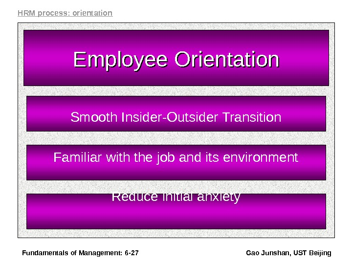 Fundamentals of Management: 6 - 27 Gao Junshan, UST Beijing. Employee Orientation Smooth Insider-Outsider Transition Familiar