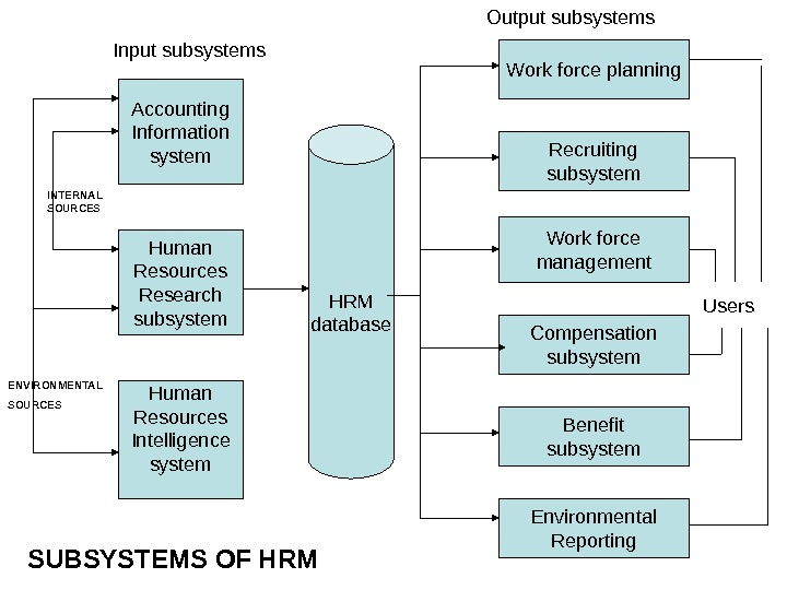 Work force planning Recruiting subsystem Work force management Compensation subsystem Benefit subsystem Environmental Reporting. HRM database.