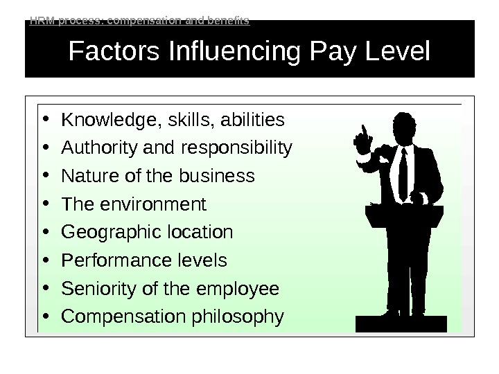 Factors Influencing Pay Level • Knowledge, skills, abilities • Authority and responsibility • Nature of the