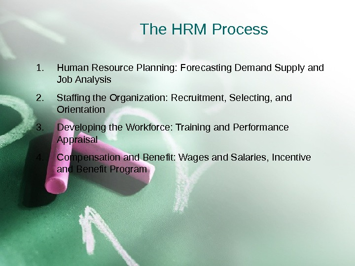 The HRM Process 1. Human Resource Planning: Forecasting Demand Supply and Job Analysis 2. Staffing the