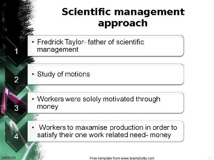 Scientific management approach 04/01/16 Free template from www. brainybetty. com 55