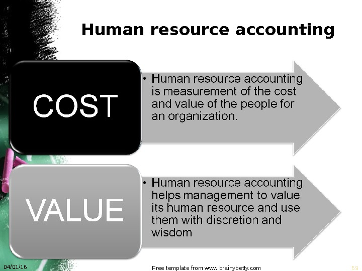 Human resource accounting 04/01/16 Free template from www. brainybetty. com 69