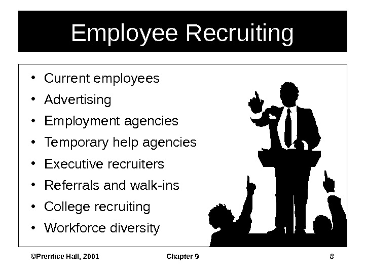 ©Prentice Hall, 2001 Chapter 9 8 Employee Recruiting • Current employees • Advertising • Employment agencies