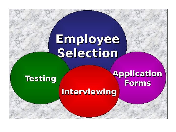Employee Selection Application Forms. Testing Interviewing