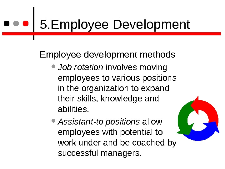 5. Employee Development Employee development methods  Job rotation involves moving employees to various positions