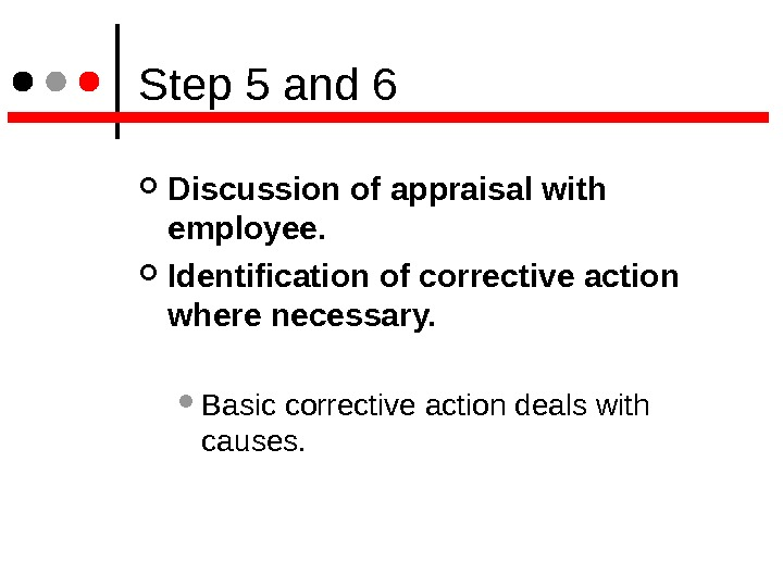 Step 5 and 6 Discussion of appraisal with employee.  Identification of corrective action where