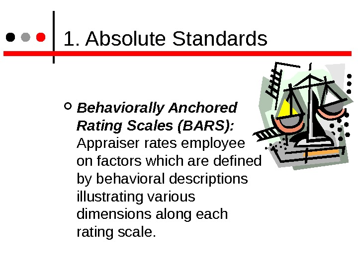1. Absolute Standards Behaviorally Anchored Rating Scales (BARS): Appraiser rates employee on factors which are
