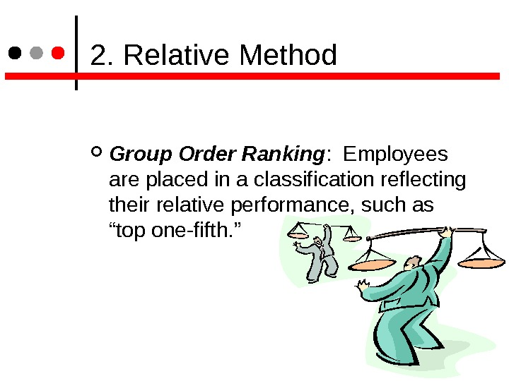 2. Relative Method Group Order Ranking :  Employees are placed in a classification reflecting