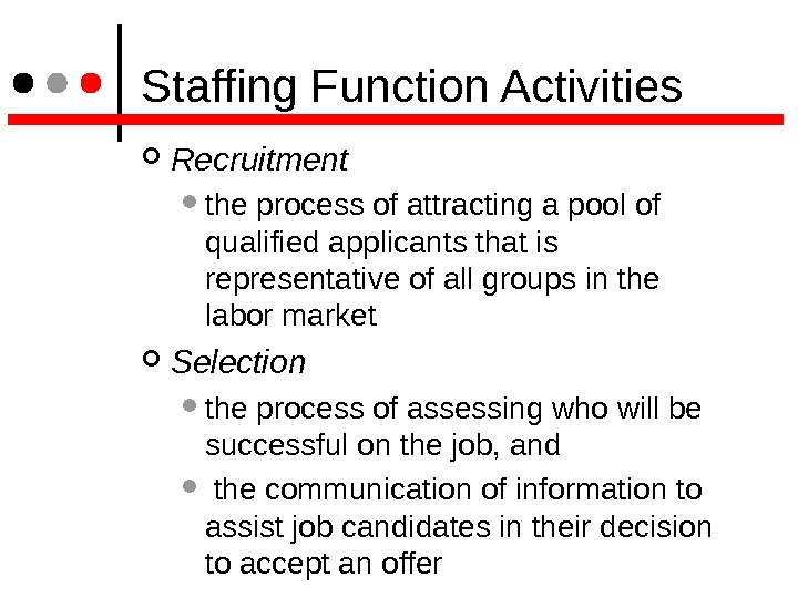 Staffing Function Activities Recruitment the process of attracting a pool of qualified applicants that is
