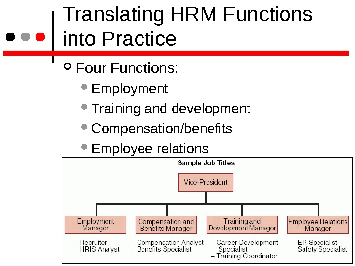 Translating HRM Functions into Practice Four Functions:  Employment Training and development Compensation/benefits Employee relations
