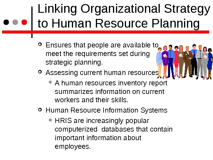 Linking Organizational Strategy to Human Resource Planning Ensures that people are available to meet the