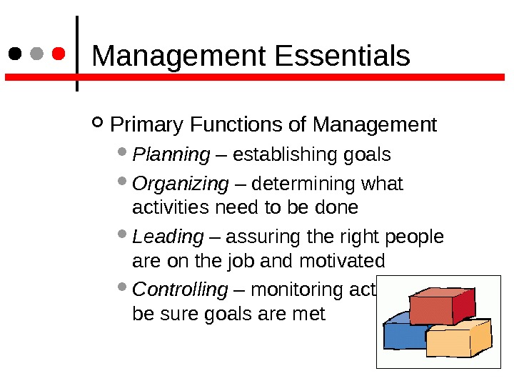 Management Essentials Primary Functions of Management Planning – establishing goals Organizing – determining what activities