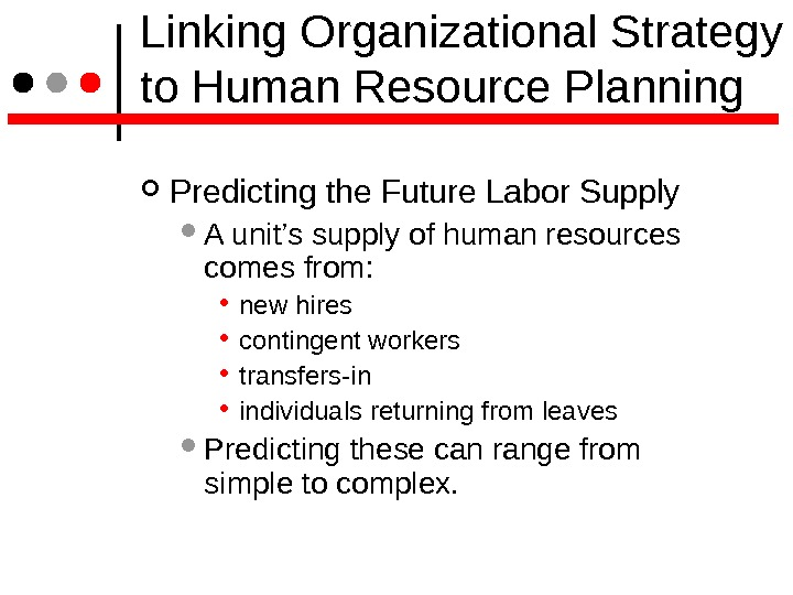 Linking Organizational Strategy to Human Resource Planning Predicting the Future Labor Supply  A unit's