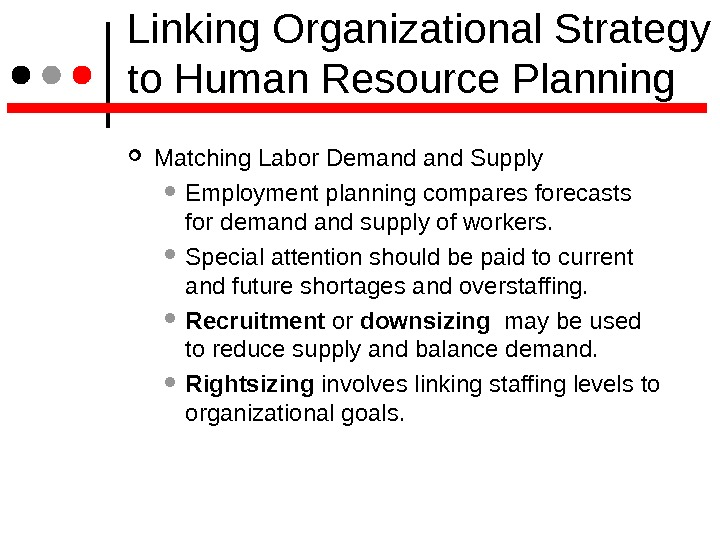 Linking Organizational Strategy to Human Resource Planning Matching Labor Demand Supply  Employment planning compares