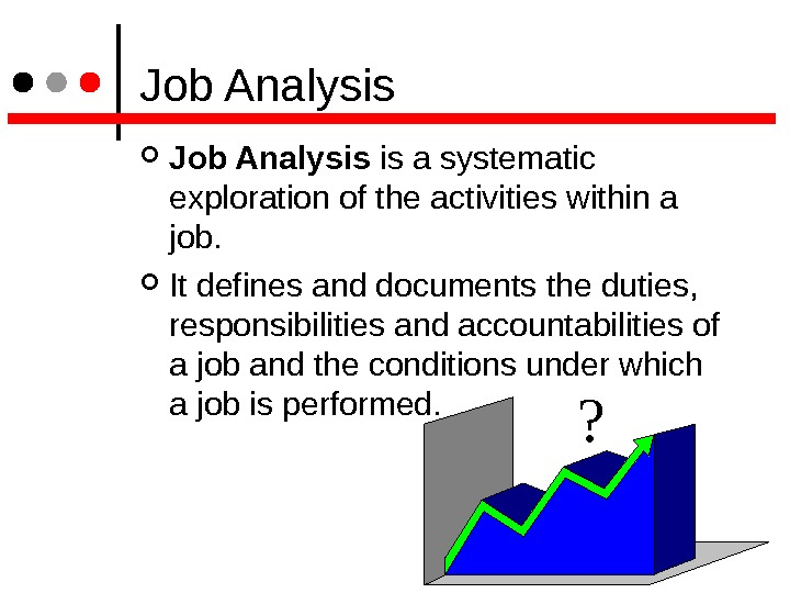 Job Analysis is a systematic exploration of the activities within a job.  It defines