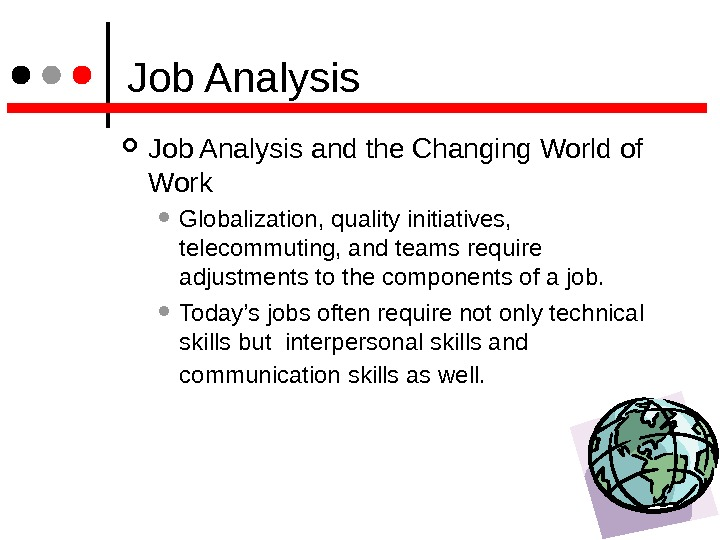 Job Analysis and the Changing World of Work  Globalization, quality initiatives,  telecommuting, and