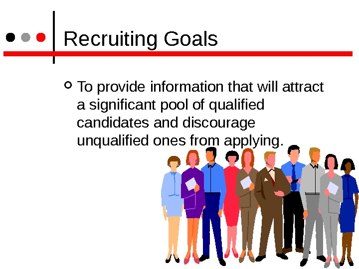 Recruiting Goals To provide information that will attract a significant pool of qualified candidates and
