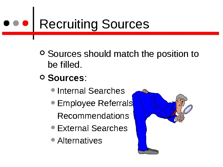Recruiting Sources should match the position to be filled. Sources :  Internal Searches Employee
