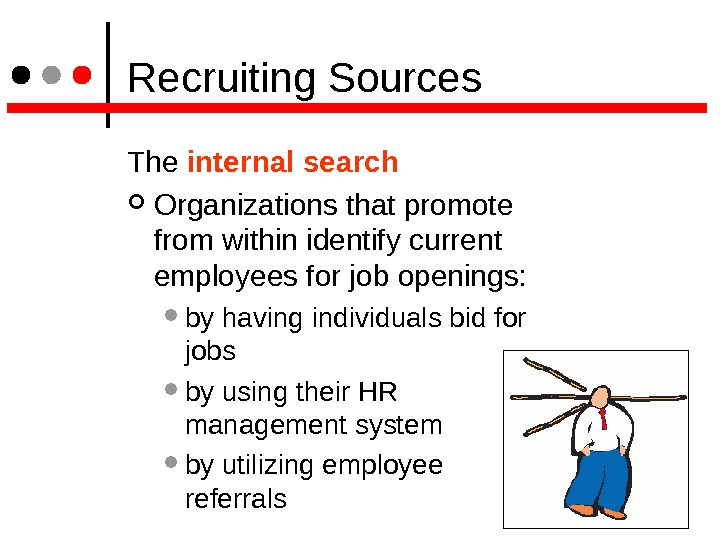 Recruiting Sources The internal search  Organizations that promote from within identify current employees for