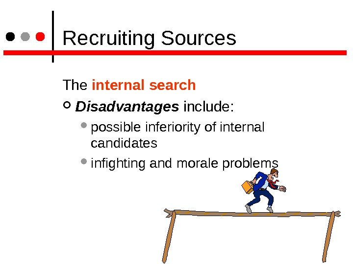 Recruiting Sources The internal search Disadvantages include:  possible inferiority of internal candidates infighting and
