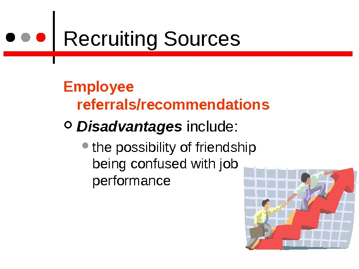 Recruiting Sources Employee referrals/recommendations Disadvantages  include:  the possibility of friendship being confused with
