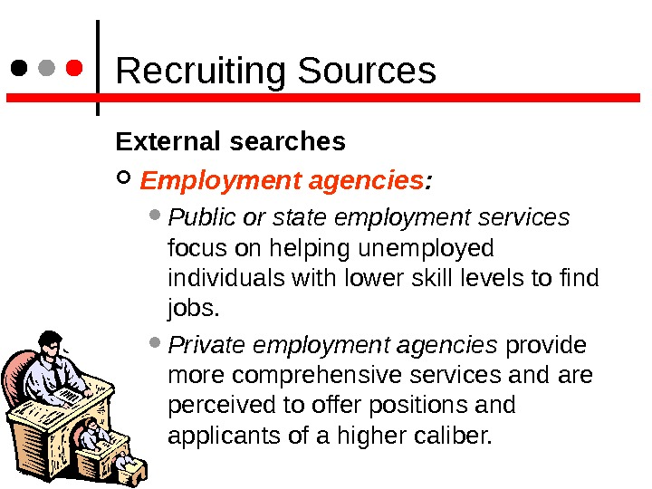 Recruiting Sources External searches Employment agencies : Public or state employment services  focus on