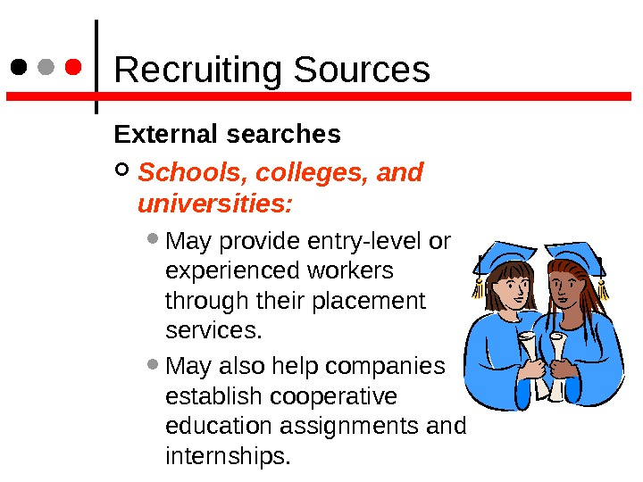 Recruiting Sources External searches Schools, colleges, and universities: May provide entry-level or experienced workers through