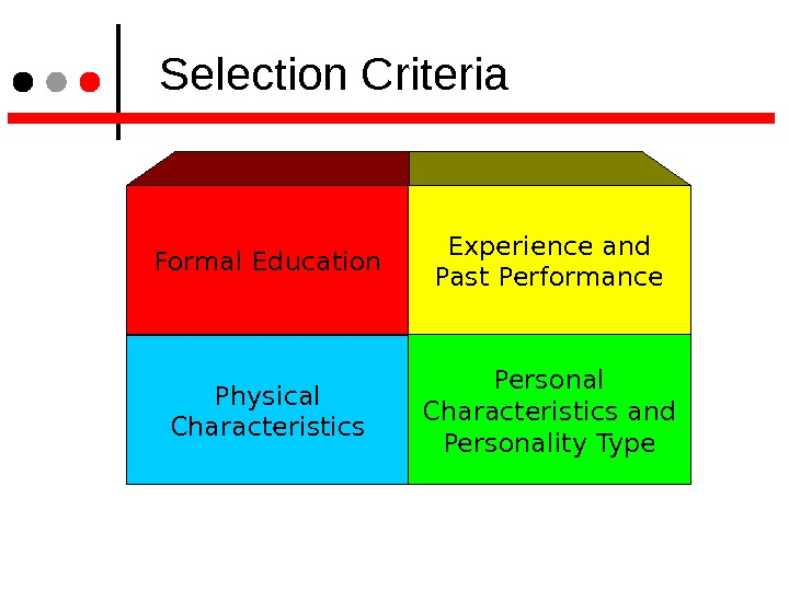 Selection Criteria Formal Education Experience and Past Performance Physical Characteristics Personal Characteristics and Personality Type