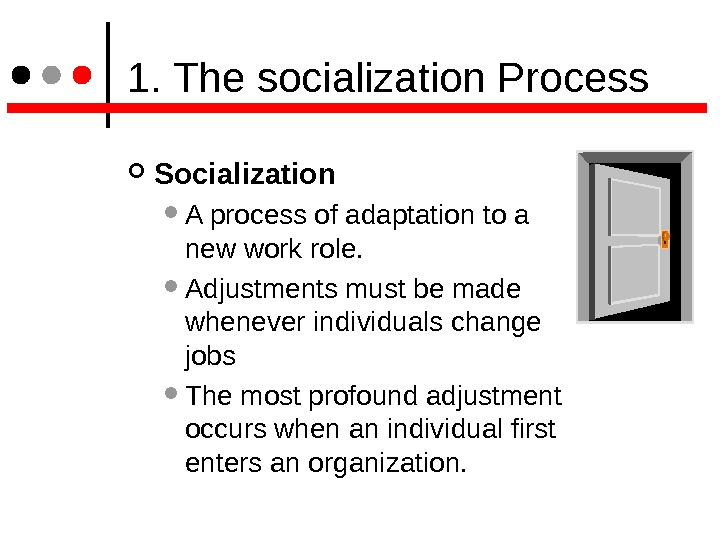 1. The socialization Process Socialization  A process of adaptation to a new work role.