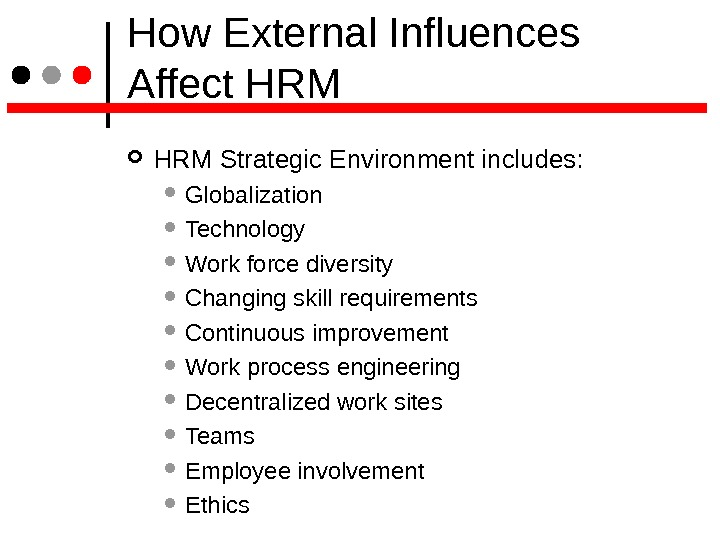 How External Influences Affect HRM Strategic Environment includes:  Globalization Technology Work force diversity Changing