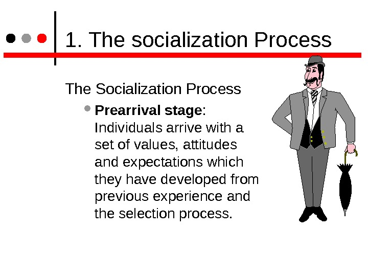 1. The socialization Process The Socialization Process  Prearrival stage :  Individuals arrive with