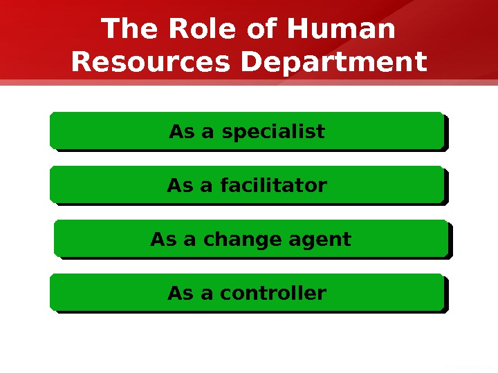 The Role of Human Resources Department As a specialist As a facilitator As a change agent