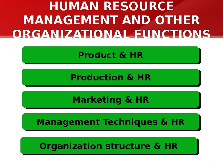 HUMAN RESOURCE MANAGEMENT AND OTHER ORGANIZATIONAL FUNCTIONS Product & HR Production & HR Marketing & HR