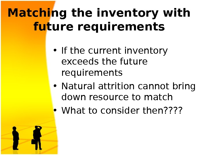 Matching the inventory with future requirements • If the current inventory exceeds the future requirements •