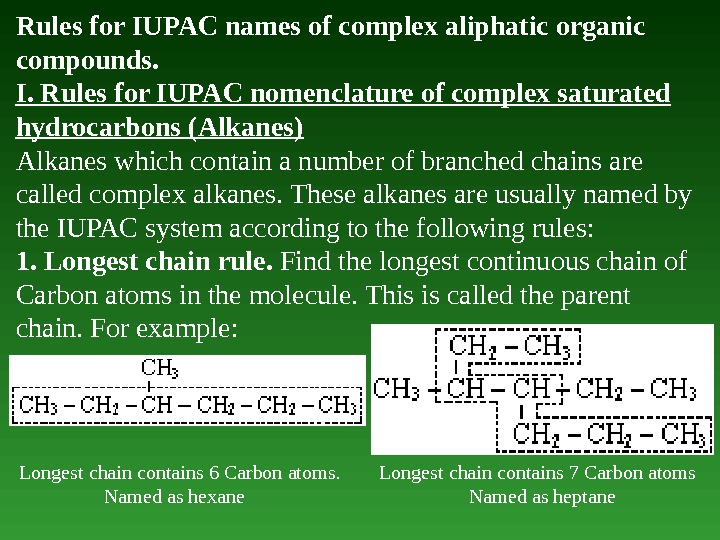 Rules for IUPAC names of complex aliphatic organic compounds.  I. Rules for IUPAC nomenclature of