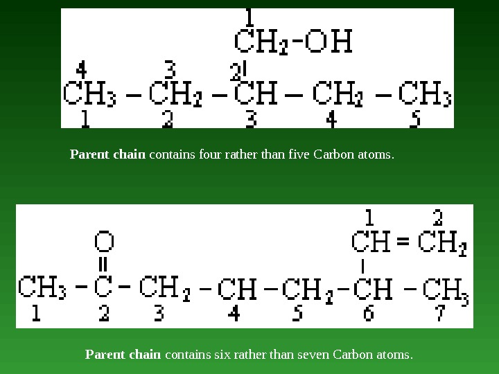 Parent chain contains four rather than five Carbon atoms.  Parent chain contains six rather than