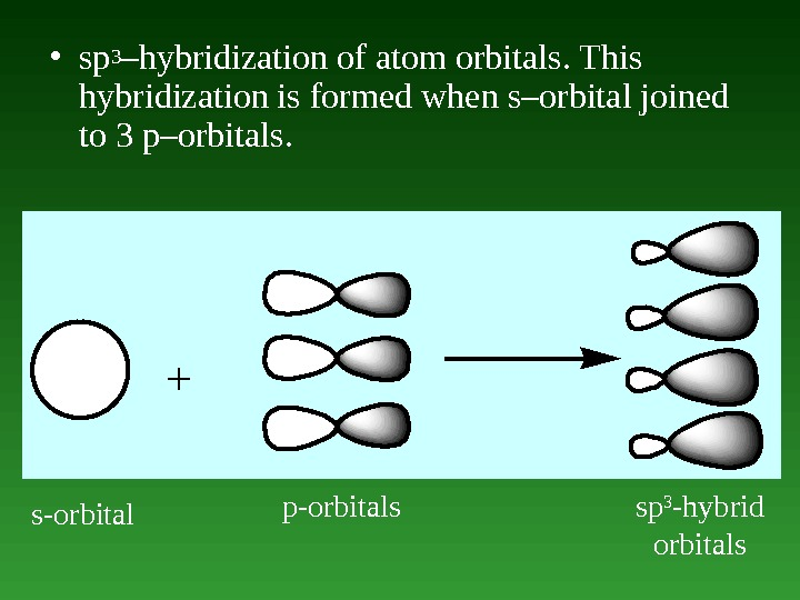 • sp 3 –hybridization of atom orbitals. This hybridization is formed when s–orbital joined to