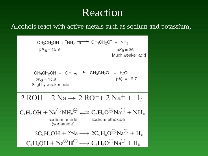 Reaction  Alcohols react with active metals such as sodium and potassium ,