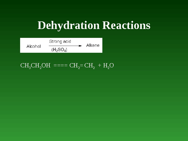 Dehydration Reactions CH 3 CH 2 OH  ==== CH 2 =  CH 2
