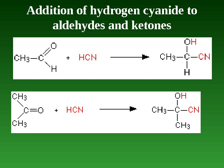 Addition of hydrogen cyanide to aldehydes and ketones