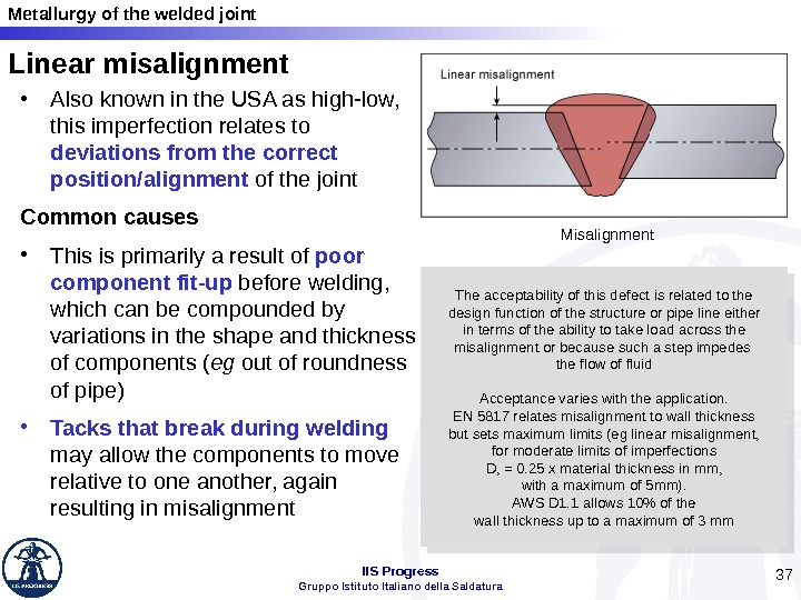 Metallurgy of the welded joint IIS Progress Gruppo Istituto Italiano della Saldatura 37 Linear misalignment •
