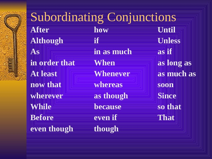 Subordinating Conjunctions After how Until Although if Unless As in as much  as if in