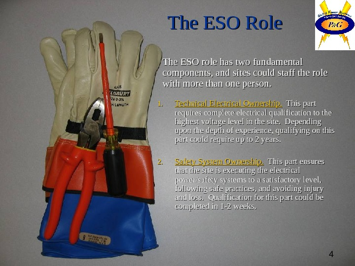 4 The ESO Role The ESO role has two fundamental components, and sites could staff the