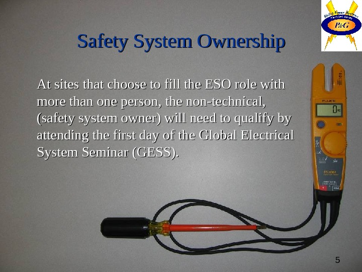 5 Safety System Ownership At sites that choose to fill the ESO role with more than
